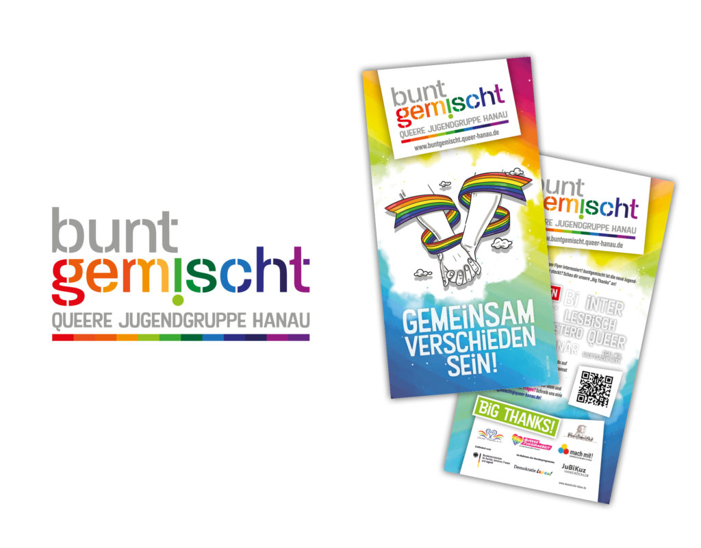 buntgemischt, queere Jugendgruppe Hanau – Komplettausstattung vom Logo, Flyer bis hin zu Social Media-Bannern