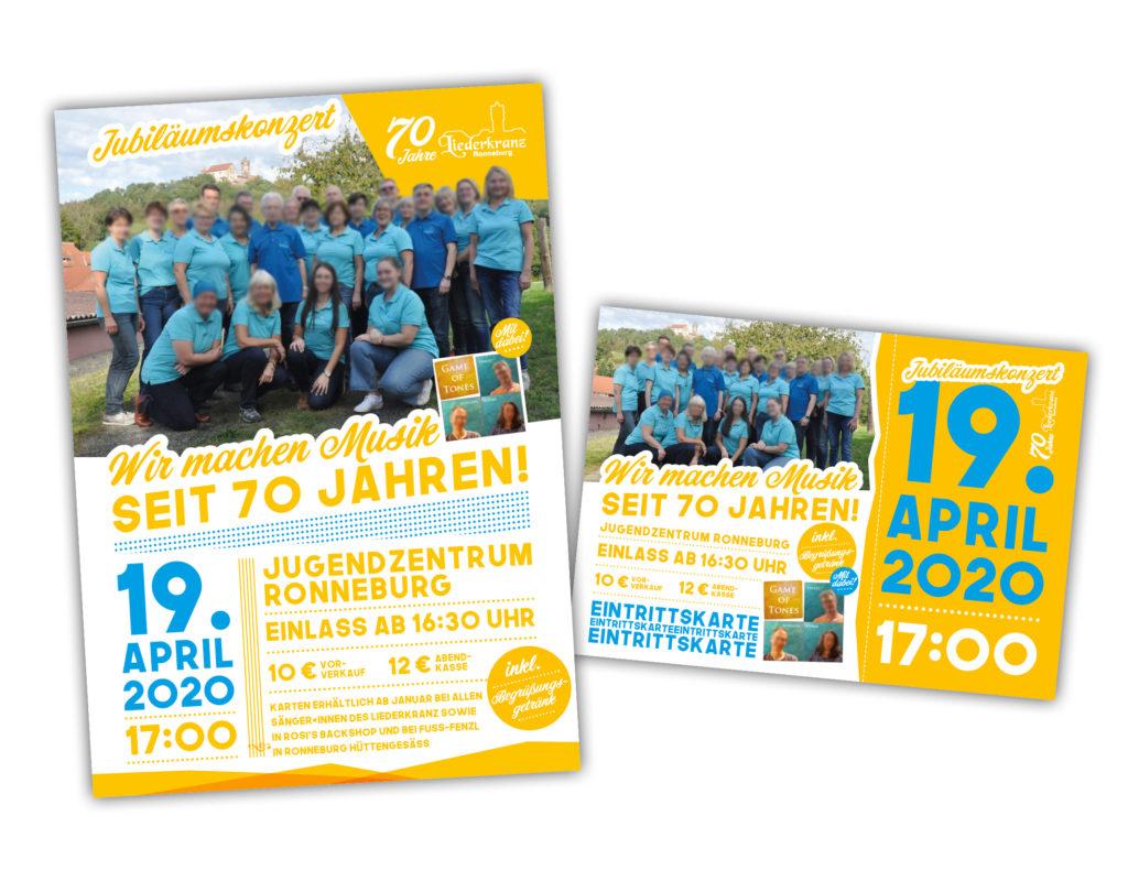Liederkranz Ronneburg – Gestaltung Flyer, Plakate, Eintrittskarten zum Jubiläumskonzert